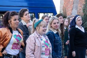 The second series of Derry Girls returned on Tuesday night.Michelle (Jamie-Lee O'Donnell), James (Dylan Llewellyn), Clare (Nicola Coughlan), Erin (Saoirse Monica Jackson), Orla (Louisa Clare Harland), Sister Michael (Siobhan McSweeney) Photo by Peter Marley.