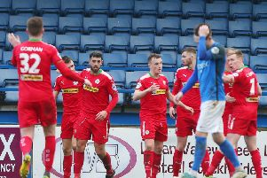 Cliftonville broke the deadlock on 38 minutes against Glenavon. Pic by PressEye Ltd.