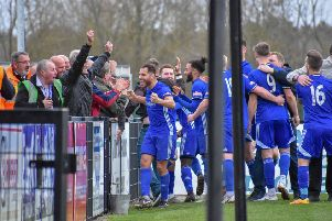 It was celebration time for title-seeking Peterborough Sports and their supporters at Corby Town this afternoon. Picture: James Richardson
