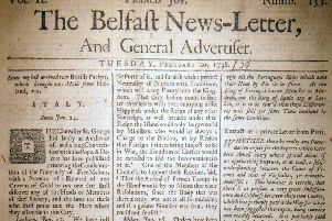 The front page of the Belfast News Letter of February 20 1738 (March 3 1739 in the modern calendar)