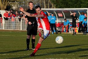 Shane Byrne bagged a brace for Brackley Town at Blyth Spartans