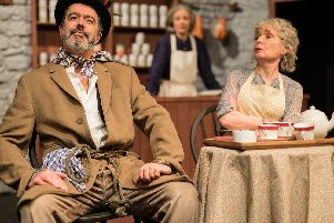 Paul Tomlinson as Johnnypateenmike O'Dougal with Niki Baldwin and Viv Tomlinson as Eileen and Kate Osbourne. Picture: Patrick Baldwin