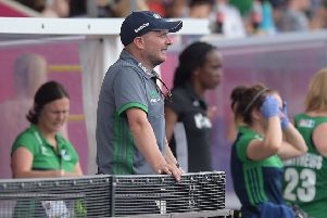Graham Shaw as coach of Ireland senior women during the hockey World Cup last summer. Pic by INPHO.