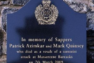 A memorial to Sappers Patrick Azimkar and Mark Quinsey