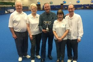 Northants Bowling Federation group organiser Dick Ford is pictured with the Top Team trophy awarded to the county at the annual English Bowling Federation Bowls Week at Potters Resort and the Stamford rink that reached the final. They are from the left Martin and Elizabeth Wallace, Shirley and John Suffling.