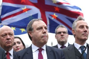 Deputy leader Nigel Dodds and fellow Westminster DUP MPs speaking in London at the time of the backstop being finalised in 2017: 'Would the DUP, of all parties, put economic calculations above the Union? It's hard to say,' writes Dan Hannan MEP 'Government strategists believe the DUP is looking for an excuse to climb down and if it does so, the ERG will follow'