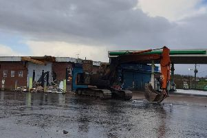 The stolen digger was used to rip an ATM from the wall of the filling station and then set on fire. Pic by lPSNI Dungannon & South Tyrone