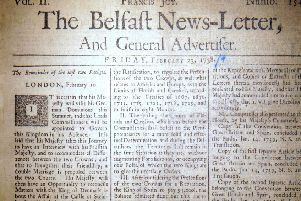 The front page of the Belfast News Letter of February 23 1738 (March 6 1739 in the modern calendar)