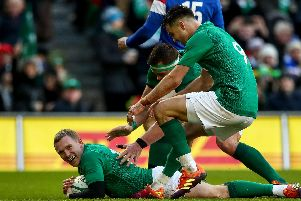 Keith Earls celebrates going over for Ireland's fourth try against France