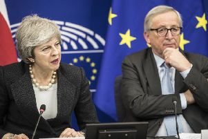 Britain's Prime Minister Theresa May, left, and European Commission President Jean-Claude Juncker attend a media conference at the European Parliament in Strasbourg, eastern France, Monday, March 11, 2019 (AP Photo/Jean-Francois Badias)