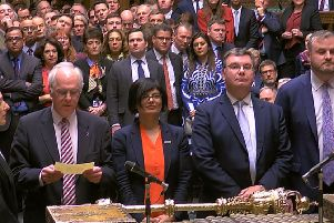 MPs announcing the Brexit result in the House of Commons, London, where they rejected the Government's Brexit deal by 391 votes to 242 today, Tuesday March 12, 2019. Photo: House of Commons/PA Wire