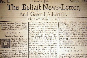 The front page of the Belfast News Letter of March 2 1738 (March 13 1739 in the modern calendar)