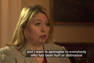 """Karen Bradley apologising on BBC for her references to Troubles killings by the military. """"The secretary of state might now overcompensate"""""""