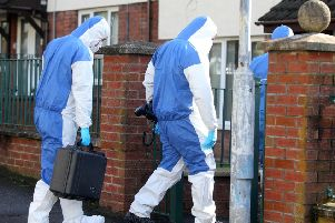 Forensic experts at the scene of Alice Morrow's murder in east Belfast. '''Picture by Jonathan Porter/PressEye