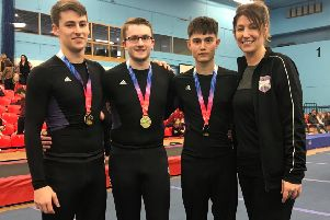 From left: Sam Clarke, Ben Knapton, Jamie Edwards and coach Clare Clarke