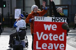 Pro and anti-Brexit protesters in Westminster, London, Thursday March 14, 2019