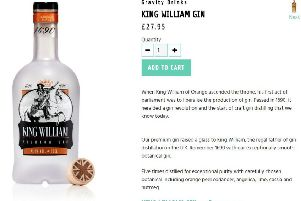 King William gin on the Gravity Drinks website