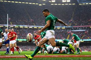 Ireland's Rob Kearney clears against Wales