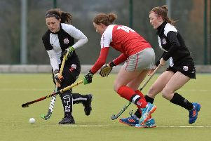 Alex Speers (centre) was on target for Pegasus in the win over Old Alex