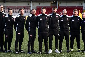 Seamus McCallion, Sports Analyst, and the Derry City management team who regularly use sports performance analysis company, InStat