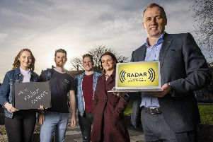 Recent graduates Amelia Conwell, Cahir Moss, Caol�n Taggart and Kelly Wilson pictured with Radar managing director Alan Braithwaite