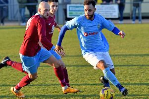 Dan Schiavi (left) scored for Deeping against Daventry.