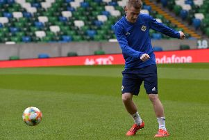 Northern Ireland's Steven Davis pictured during an open training session,  ahead of Northern Ireland's UEFA EURO 2020 qualifying matches against Estonia and Belarus at the National Football Stadium at Windsor Park.'Photo Colm Lenaghan/Pacemaker Press