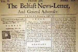 The front page of the Belfast News Letter of March 9 1738 (March 20 1739 in the modern calendar)