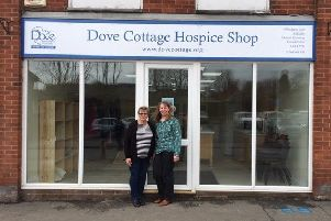 Staff outside the new Dove Cottage Hospice charity shop with cafe at Asfordby which opens on Saturday EMN-190321-120753001