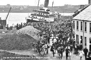 SS Hazel docks in Portrush with Scottish visitors 1909