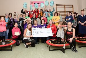 Larne's BeFit gym members raised �10,000 for charity. They were joined by the Mayor of Mid and East Antrim, Cllr Lindsay Millar, for the presentation of cheques to 10 good causes.