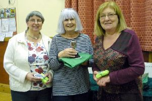 Themed competition winners at Binbrook & District WI: from left, Hilary Harris (joint second), Hilary Fry (first), Linda Todd (joint second EMN-190315-081011001