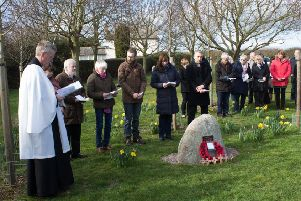 Villagers and members of Hose and Harby branch of the Royal British Legion at a service of dedication for a new war memorial stone at Barkestone-le-Vale EMN-190322-091822001