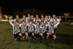 Oundle Town celebrate their victory in the Peterborough & District Youth League Cup FInal. Photo: RWT Photography.