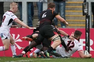 Ulster centre Stuart McCloskey scores a try against Southern Kings