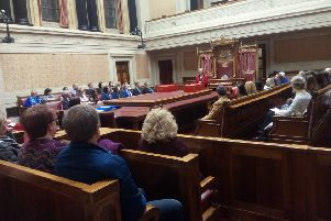 Anne Graham, sister of the late Edgar Graham, speaks at the close of the Edgar Graham Memorial speaking competition, in the senate, Stormont, March 20 2019