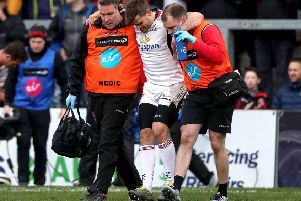 Ulster's Louis Ludik leaves the pitch injured during the game against Southern Kings