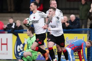 Crusaders battled back from 2-0 down to secure a point against Ards. Pic by Pacemaker.