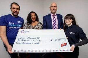 Pictured from left to right are: Dr Giacomo de Piccoli, University of Warwick researcher; Lisa Wilson, ABP PA to Jim Avery; Jim Avery, ABP Retail Operations Director and Ellen Jurczak, Cancer Research UK Local Fundraising Manager