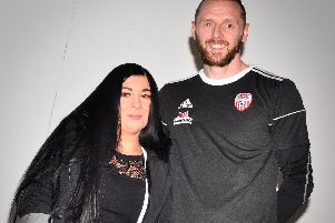 Derry City goalkeeper, Peter Cherrie and his wife, Justine who suffers from  Functional Neurological Disorder.