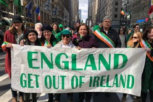"""The St Patrick's Day banner (above) is quite clear,"" says Mary Lou McDonald. ""It is about ending partition and the interference of a parliament in London in the affairs of the people who share this island"""