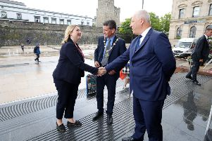 Press Eye - Belfast - Northern Ireland - 30th July 2018 ''The Secretary of State for Northern Ireland, Karen Bradley MP, is pictured with Mayor of Derry and Strabane John Boyle and John Kelpie, CEO of Derry and Strabane Council before a meeting to discuss Derry City Deal.''Photo by Kelvin Boyes / Press Eye.