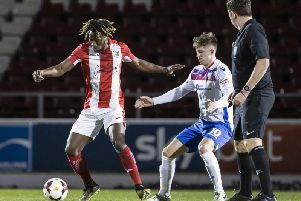 Ben Diamond, pictured during Tuesday's NFA Hillier Senior Cup final against Brackley Town, is a doubt for AFC Rushden & Diamonds' trip to St Ives Town after he suffered an ankle injury late on in the game at Sixfields. Picture by Kirsty Edmonds