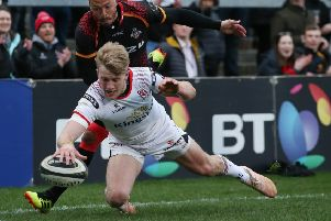 Ulster Rob Lyttle scores a try against  Isuzu Southern Kings in the Guinness PRO14