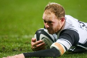 Matt Faddes scores a try at Kingspan Stadium for the BaaBaas against Fiji - rumour is the Kiwi is coming back on a more permanent basis