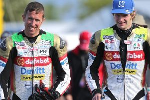 Steve Mercer (left) pictured with his Dafabet Racing team-mate Ivan Lintin at the Isle of Man TT in 2017.