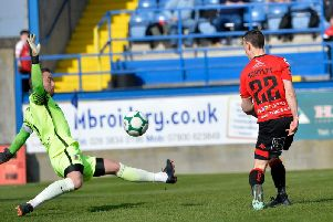 Jonny Tuffey produced a number of strong saves to help Glenavon defeat Crusaders.