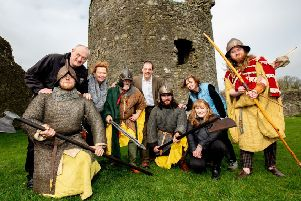 The Journeying Beyond Westeros team at Dundrum Castle in Co Down, one of the monuments to be included on the planned heritage trail