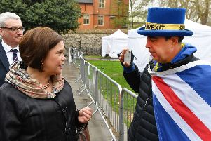 Sinn Fein leader Mary Lou McDonald speaks to pro EU proteste Steve Bray on College Green, London, ahead of a meeting on Monday evening with Labour party leader Jeremy Corbyn. PRESS ASSOCIATION Photo. Picture date: Monday April 8, 2019. See PA story POLITICS Brexit. Photo credit should read: John Stillwell/PA Wire