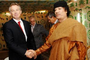 MPs previously noted that Tony Blair's meeting with Col Gaddafi in in 2004 was accompanied by an announcemnt of a �550m Libyan gas deal for Shell. ''Pictured is a meeting between the pair at Gaddafi's desert base outside Sirte south of Tripoli in 2007. Photo: Stefan Rousseau/PA Wire